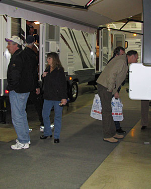Oregon State Salem Spring RV Show: Visitors explore the indoor motorhome exhibits in comfort and warmth